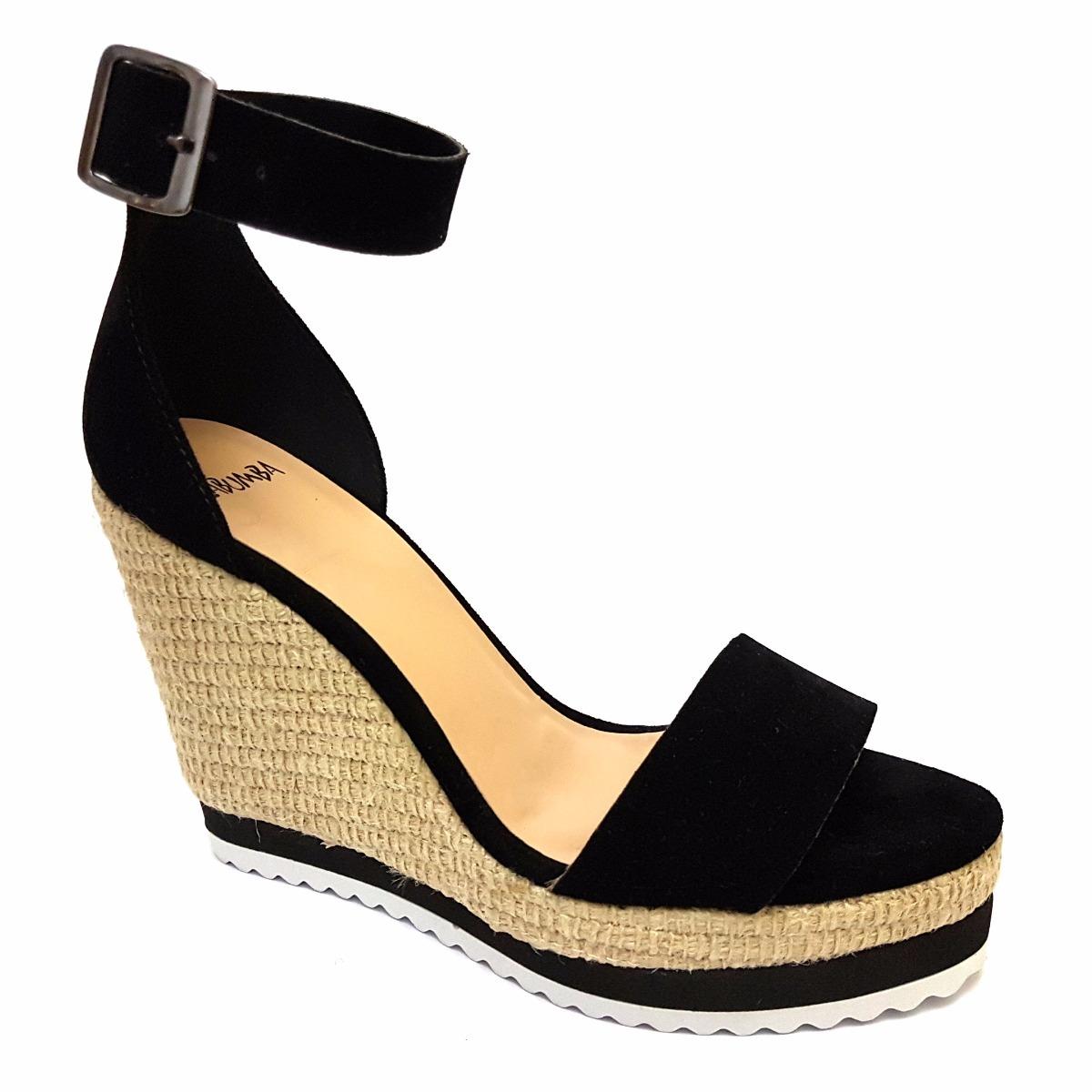2451faaba sandália anabela preta salto corda tira tornozelo zabumba. Carregando zoom.