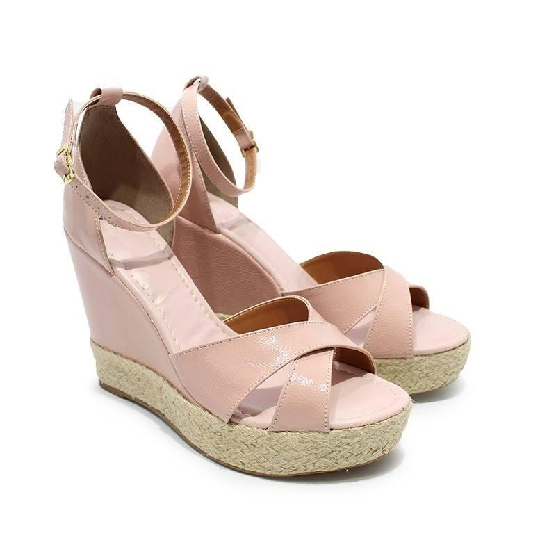 1ce22451f sandália anabela salto alto corda nude rose rosado verniz. Carregando zoom.
