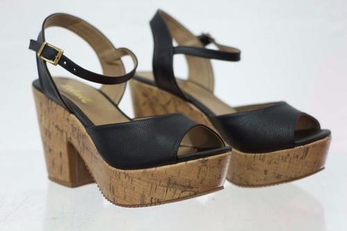 sandália anabela salto grosso cortiça preto leluel shoes