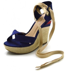 9129da6ad Sandalia Anabela Amarrar Perna - Sapatos para Feminino com o ...