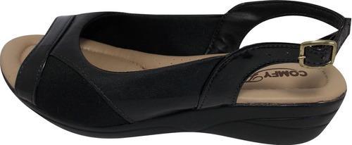 sandália anabela super conforto joanetes comfy flex 33 ao 44