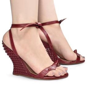 c784f4dfaf Sandália Anabela Uza Shoes Salto Alto Geométrico Chic