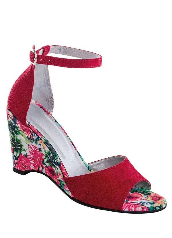 3e4d7d9ff sandália anabela vermelha com salto estampado frete grátis. Carregando zoom.