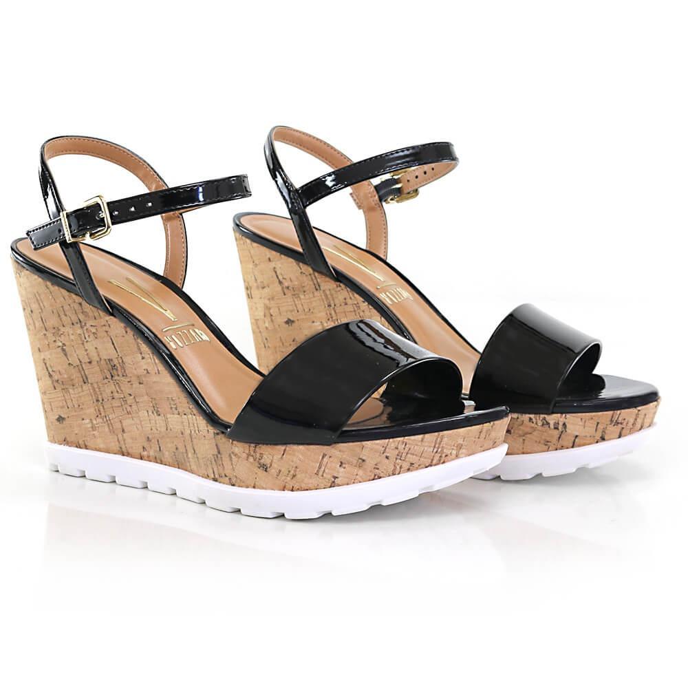 c18429e02 sandália anabela vizzano em verniz - vanda calçados. Carregando zoom.