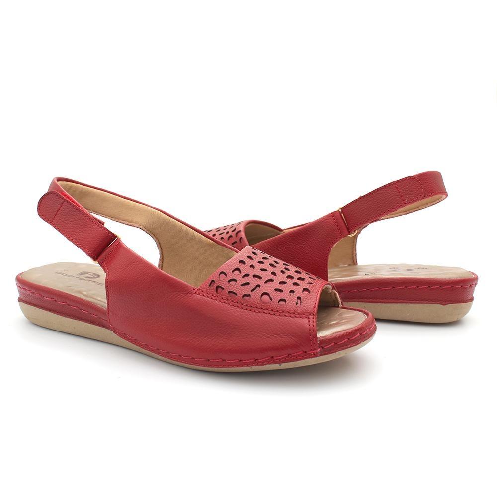 a38d37bb4 sandália anatômica couro ajuste esporão doctor pé vermelho. Carregando zoom.
