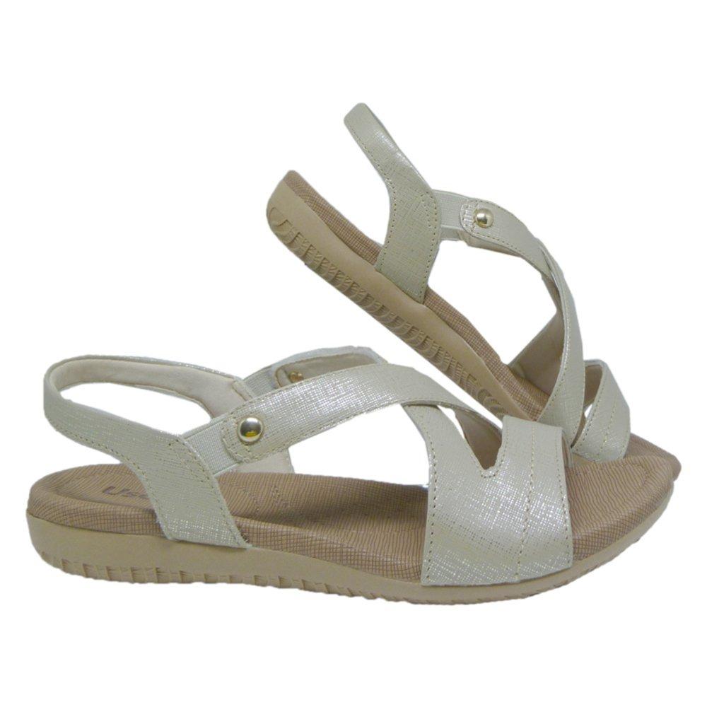 96ac3e7ca sandália anatômica feminina em couro usaflex prata. Carregando zoom.