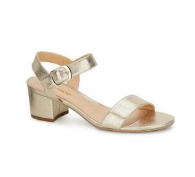 reunirse 800f9 da095 Zapatos De Tacon Bajo De Mujer De Fiesta - Zapatos Dorado en ...