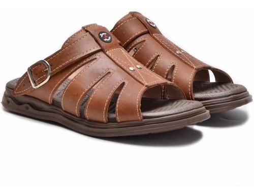 sandália anti stress chinelo masculino ortopédico couro ofer
