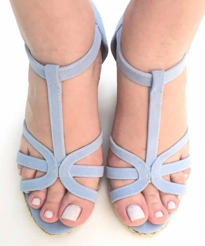 500de9b57 sandalia azul bebe salto alto anabela corda trançada 2164. Carregando zoom.