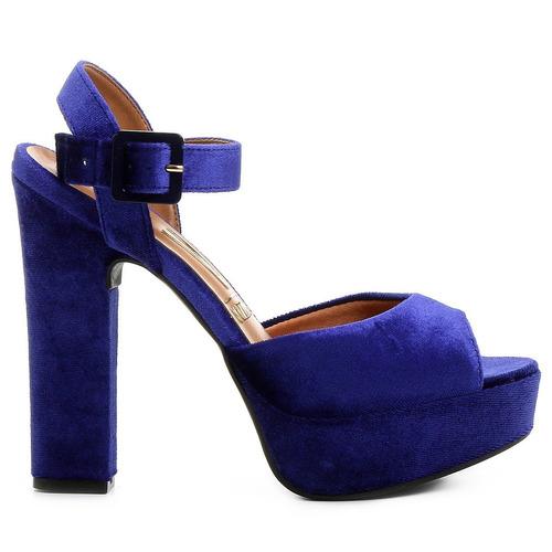 sandália azul salto grosso vizzano meia pata - frete grátis