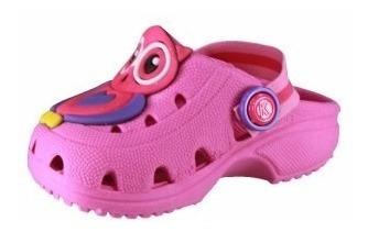 sandália babuche feminina infantil corujinha rosa pink 737