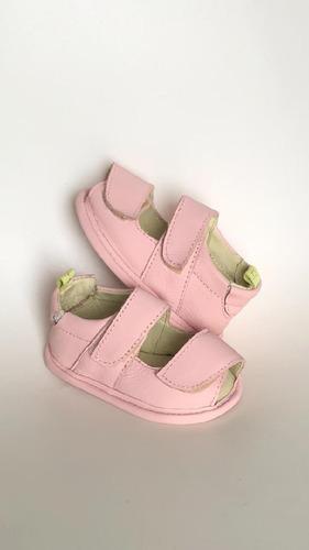 sandalia bebe menina couro rosa b+b