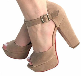 fe94309844ba9 Sandalia Salto Alto Quadrado Grosso Meia Pata - Sapatos com o ...