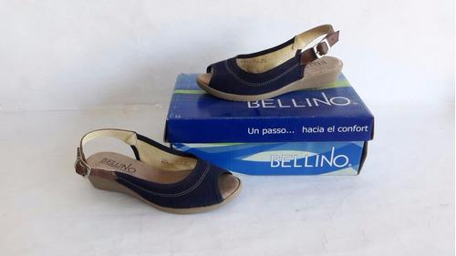 sandalia bellino modelo 1706 color azul marino 100% mexicano