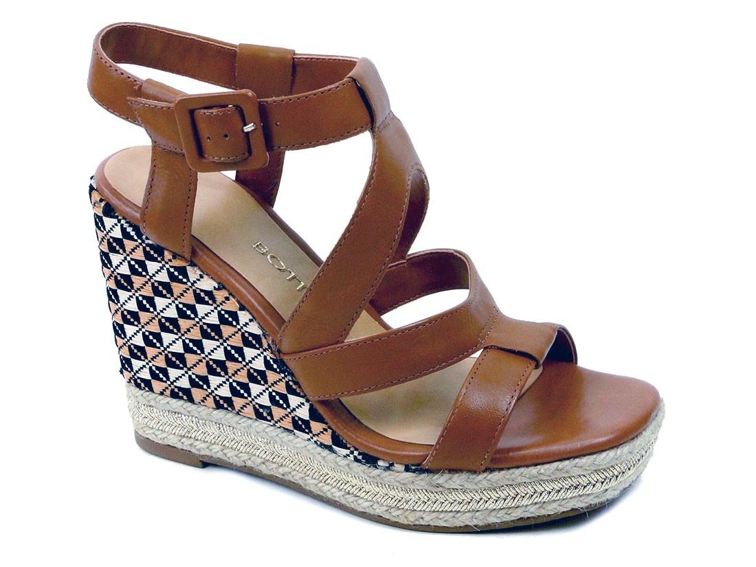 60c05a2813 sandália bottero anabela plataforma couro legítimo caramelo. Carregando  zoom.