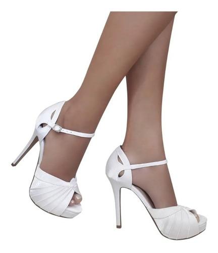 sandalia branca cetim meia pata salto alto noiva festa duani