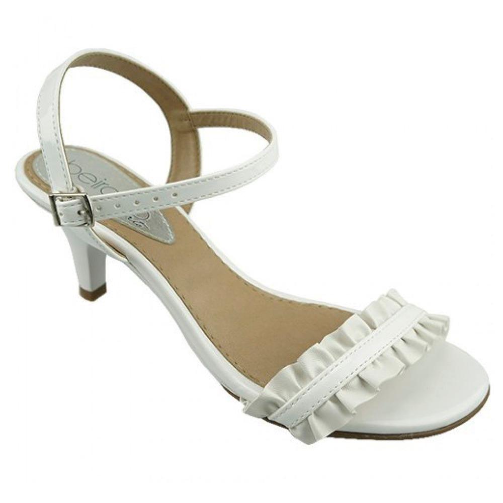 f25a08e3a Sandalia Branca Salto Baixo Medio Noiva Batizado Formatura - R$ 59 ...