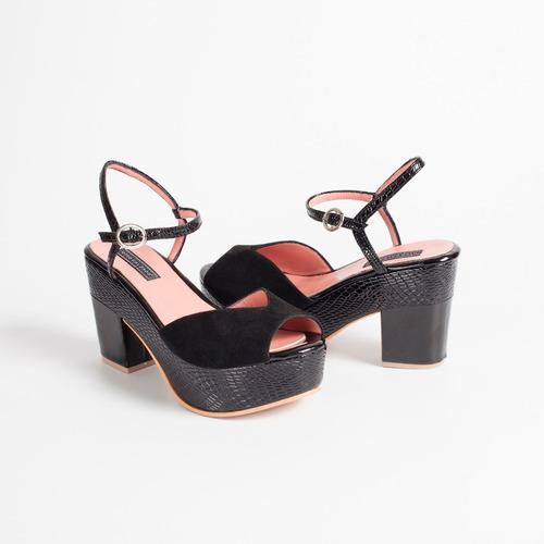sandalia c/ plataforma de cuero art tabu negro otro calzado.