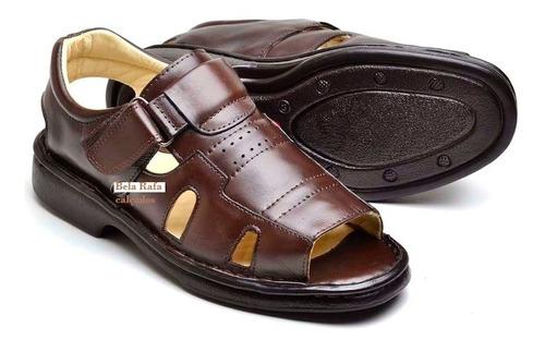 sandália calçado masculino ortopédico couro chinelo pais