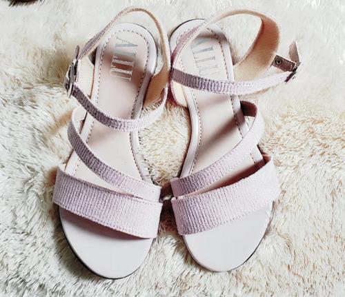 sandália camurça rosa