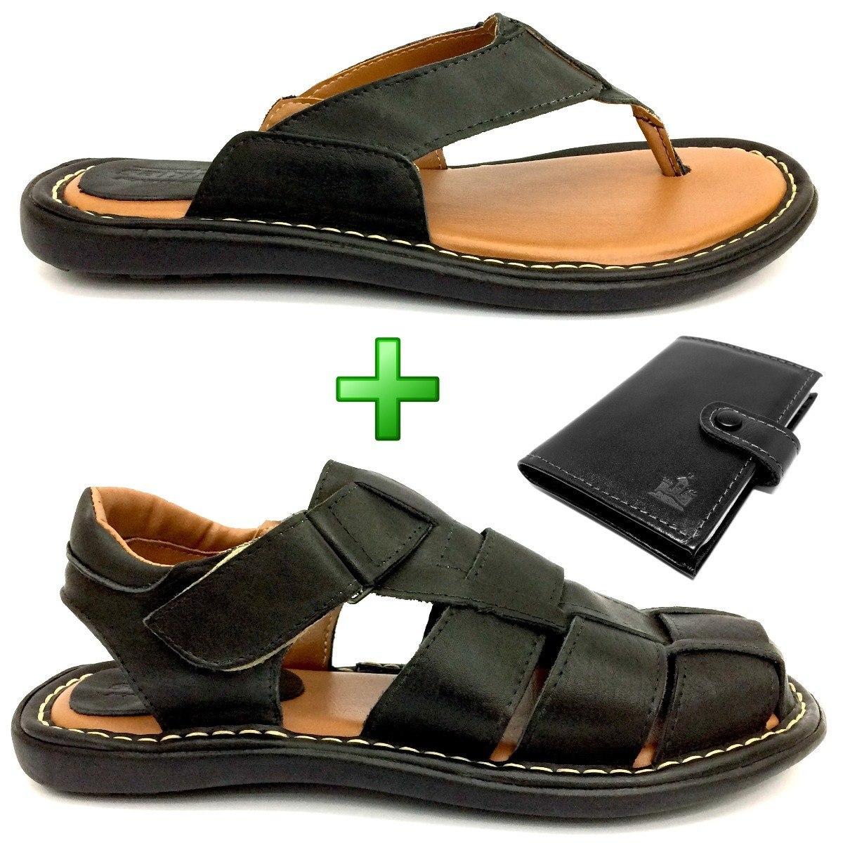 78846751aa sandália + chinelo + carteira couro preto masculino kit a+. Carregando zoom.