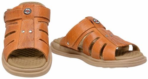 sandália chinelo conforto masculina couro stilo pegada