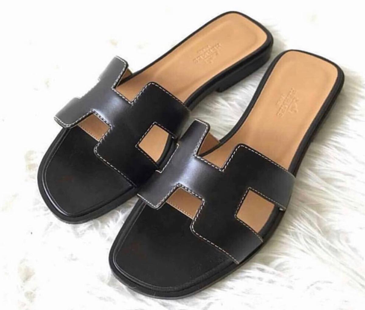 93bc71633f4 sandalia chinelo flat hermes preto feminino - pronta entrega. Carregando  zoom.