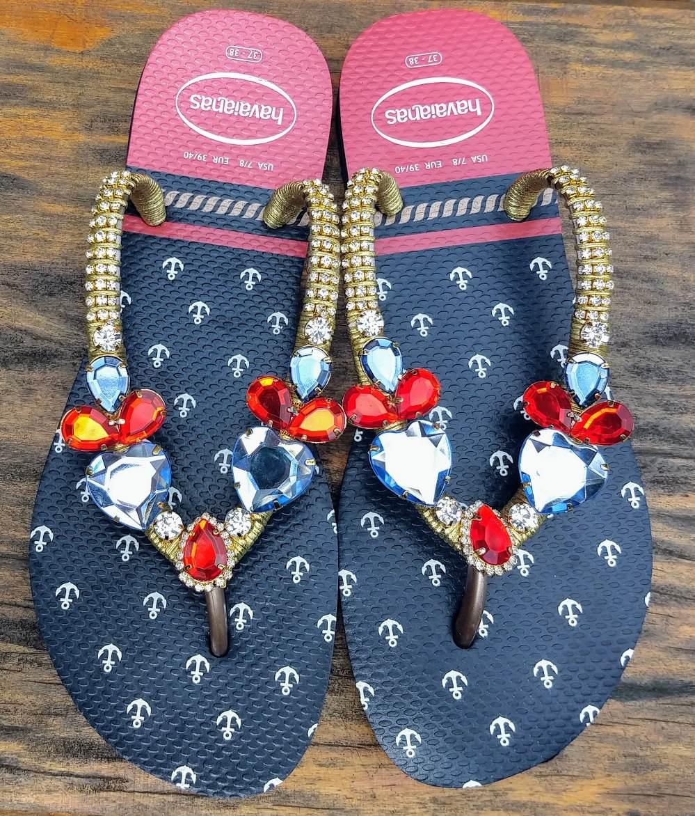 965783a818 sandália chinelo havaianas decorada customizado praiamar. Carregando zoom.