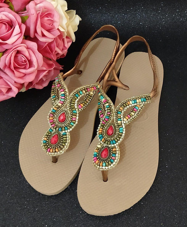 a68895a116 sandália chinelo havaianas decorada luna luxo. Carregando zoom.