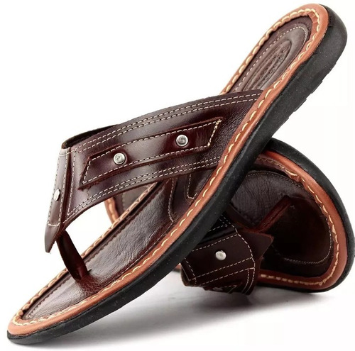 sandália chinelo masculino 100% couro promoção kit 3 pares.