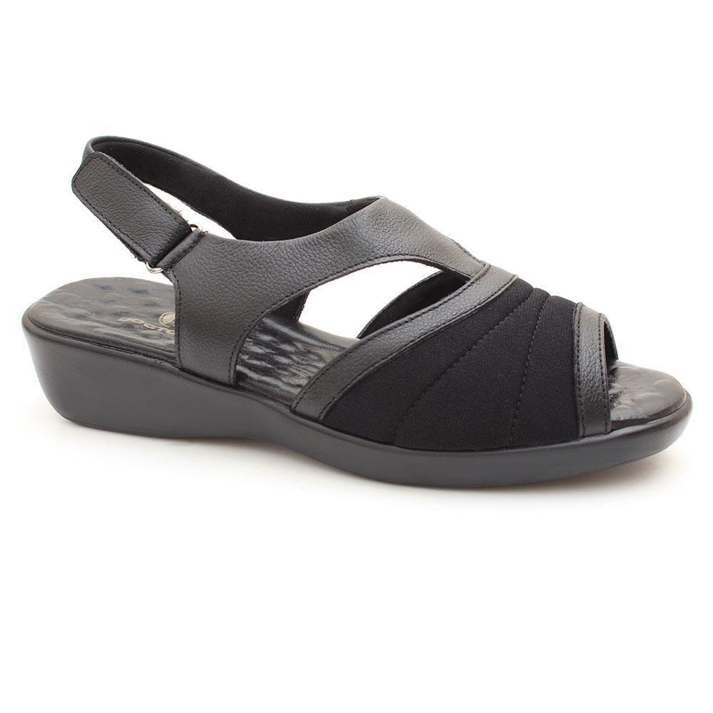 ed18ffc03 sandália comfort couro e neoprene joanete doctor pé preto. Carregando zoom.