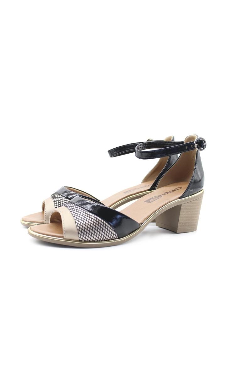 fc9f7e1b7 Sandália Comfort Flex Salto Baixo Tricolor Bege/preto - R$ 169,90 em ...