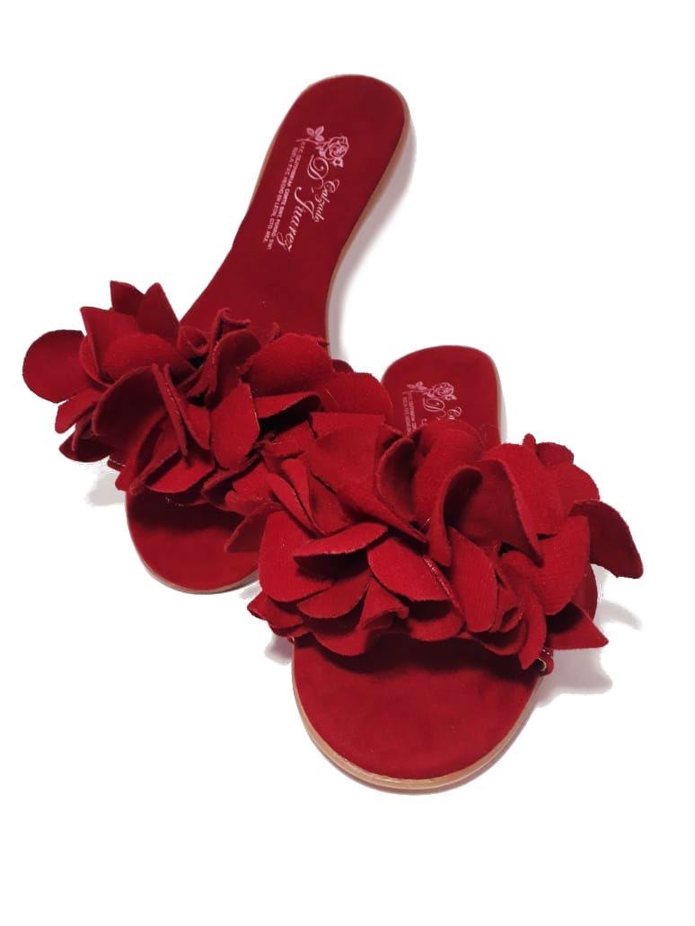 Flores Moda Rojo Con 2019 Para Dama Sandalia derxEoQBWC