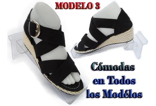 sandalia con plataformas en jeans 100% artesanales alpargata