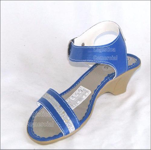 sandalia con tacon azul 1267 talla 35 a 40  mujer niña moda