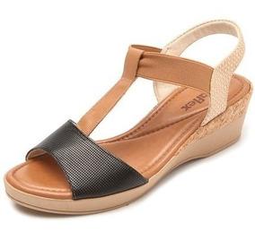 c43785b6d Sapato Anabela Usaflex Couro Conforto Duplo Zíper 5766 - Sapatos com o  Melhores Preços no Mercado Livre Brasil