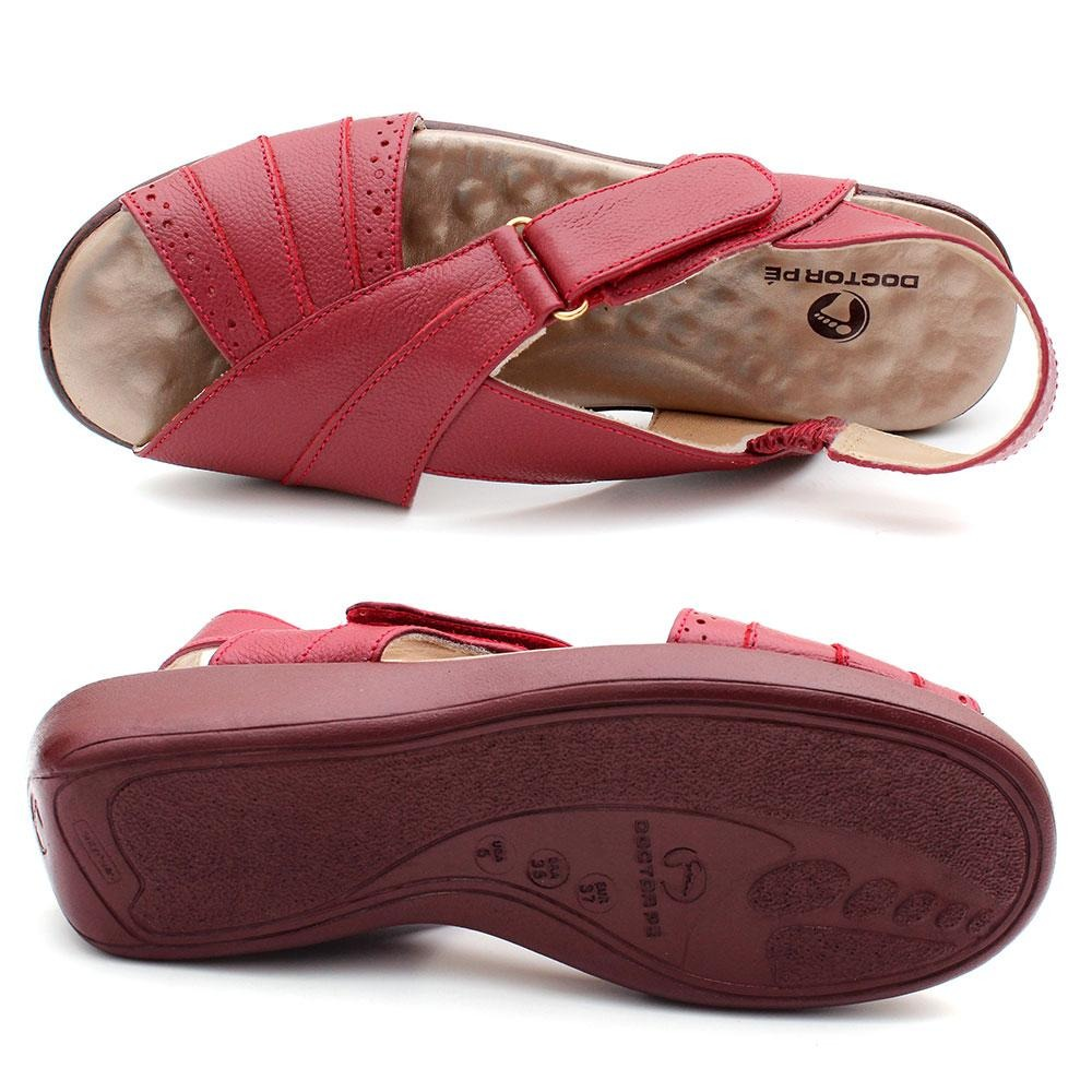 a26746a72 sandália conforto feminino em couro esporão doctor pé. Carregando zoom.