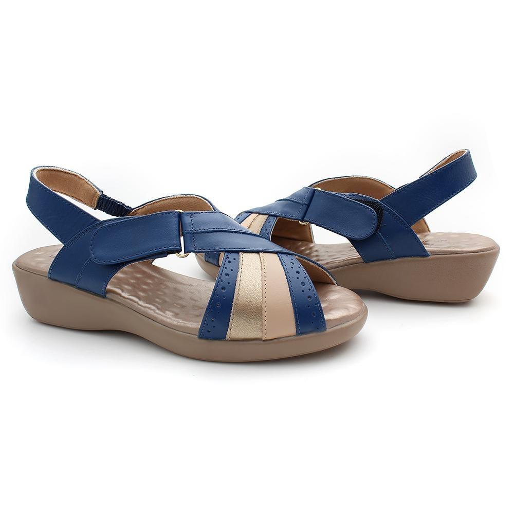 3196cd80a sandália conforto feminino em couro esporão doctor pé azul. Carregando zoom.