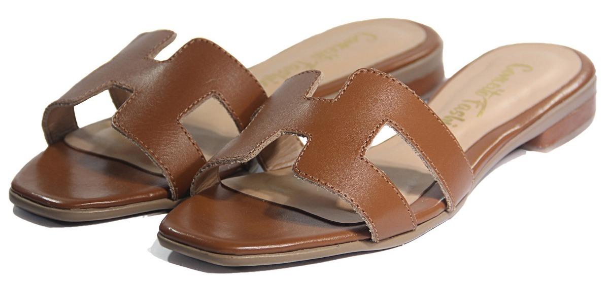 5faabfa8de6 sandalia couro caramelo marrom hermes h1 original legítimo. Carregando zoom.