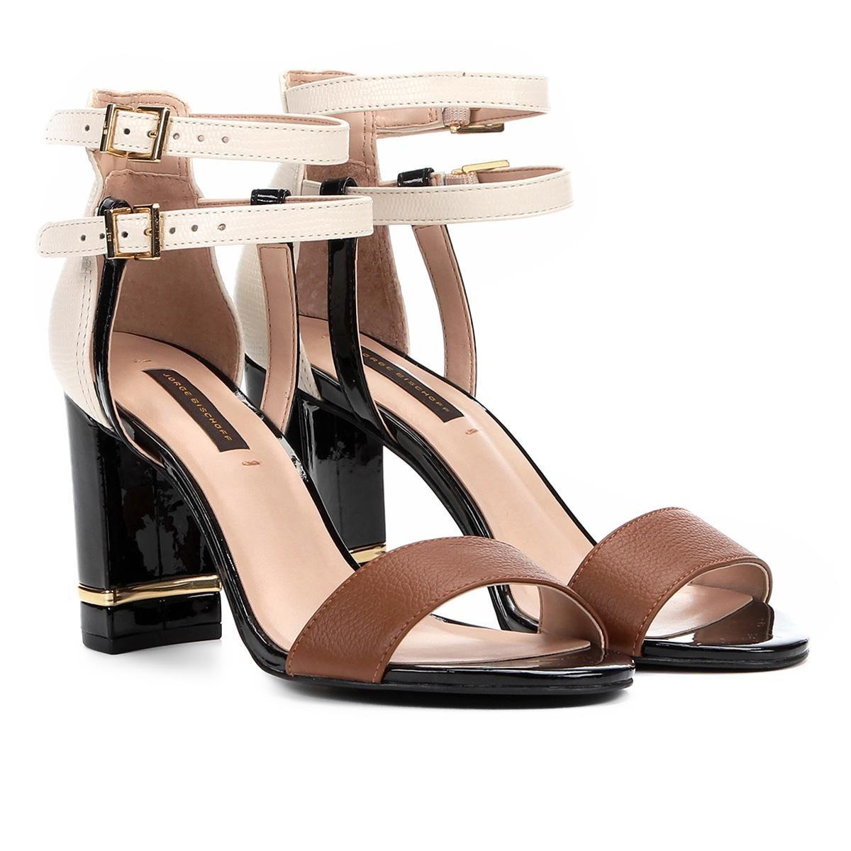 3193d54f8 sandália couro jorge bischoff salto grosso arraia feminina. Carregando zoom.