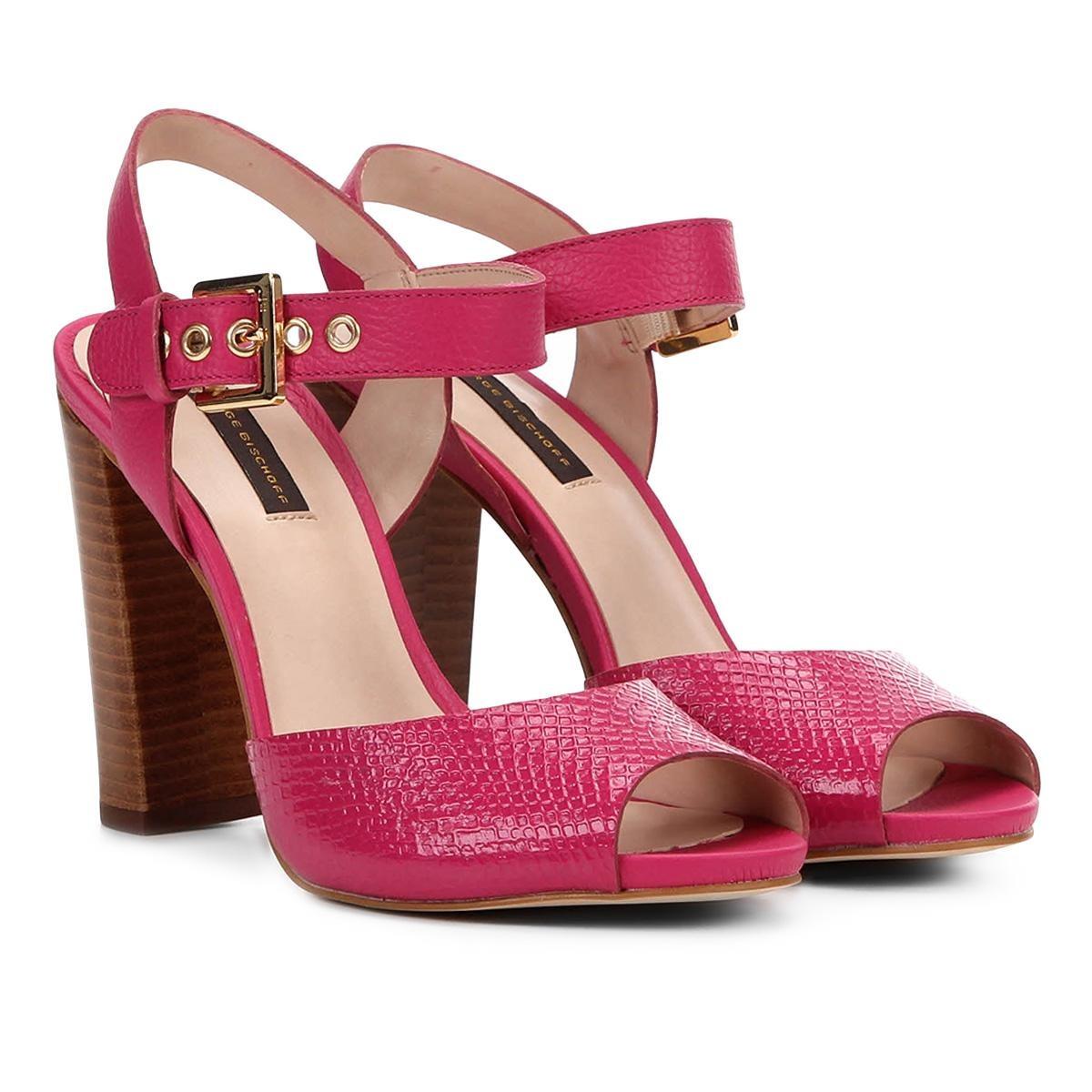 f1b198352 sandália couro jorge bischoff salto grosso croco feminina. Carregando zoom.
