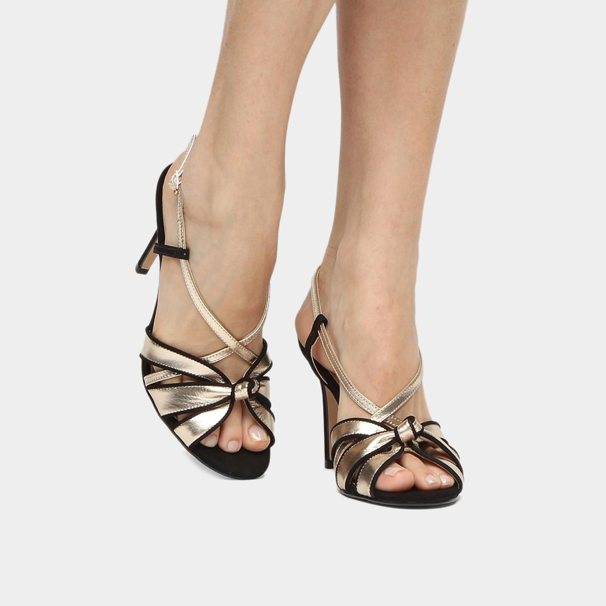 9dc974740 sandália couro shoestock salto fino nó feminina. Carregando zoom.