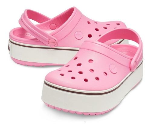 sandália crocs crocband plataforma feminino - rosa e branco