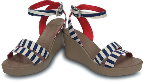 sandalia crocs dama a-leigh graphic wedge azul/blanco