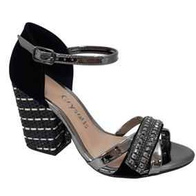 b202110639 Sandália Vazados Com Amarração Preta Crysalis - Calçados