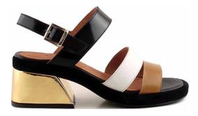 Zapatos De Cuero Pkzixuo Negras Mujer Ancho Sandalias En Y Taco QtshrCd