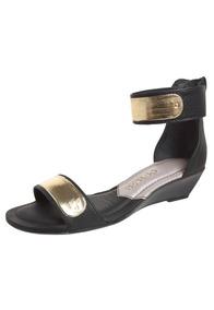 Anabela Dakota Mini Dourado Placa Metal Sandália Preta Nº 36 543RjALq