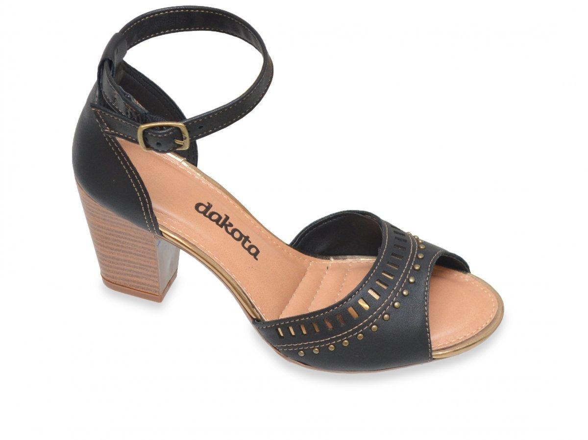 4a52fe258b sandália dakota z2223 preto e ouro velho salto grosso 8 cm. Carregando zoom.