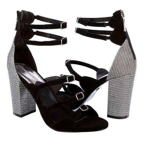 sandalia dama negro/gris cierre trasero #011626