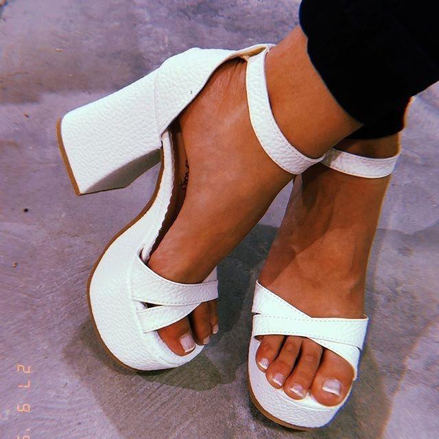 Sandalia Para De Cuero Y Moda2018 Taco Plataforma Mujer Con 0wmNn8